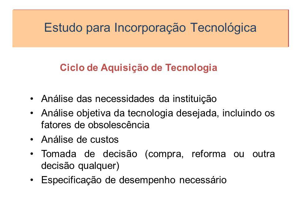 Estudo para Incorporação Tecnológica Ciclo de Aquisição de Tecnologia Análise das necessidades da instituição Análise objetiva da tecnologia desejada,