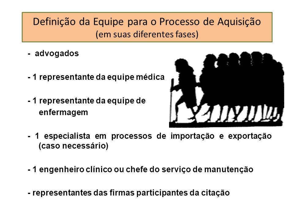 Definição da Equipe para o Processo de Aquisição (em suas diferentes fases) - advogados - 1 representante da equipe médica - 1 representante da equipe