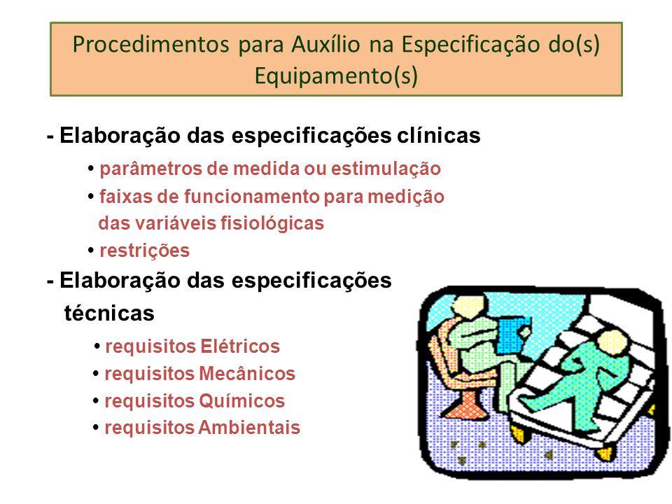 Procedimentos para Auxílio na Especificação do(s) Equipamento(s) - Elaboração das especificações clínicas parâmetros de medida ou estimulação faixas d