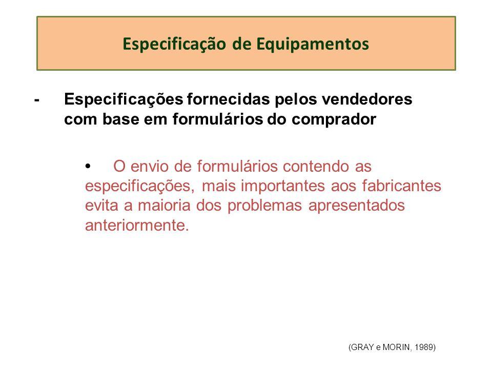 Especificação de Equipamentos - Especificações fornecidas pelos vendedores com base em formulários do comprador O envio de formulários contendo as esp