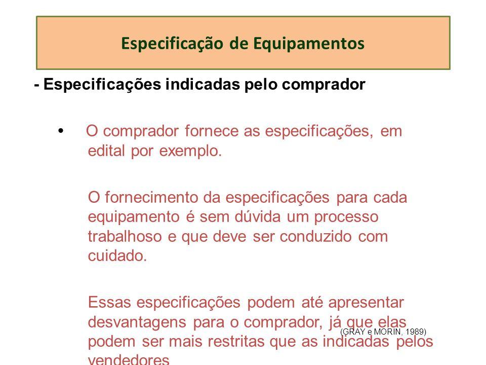 Especificação de Equipamentos - Especificações indicadas pelo comprador O comprador fornece as especificações, em edital por exemplo. O fornecimento d