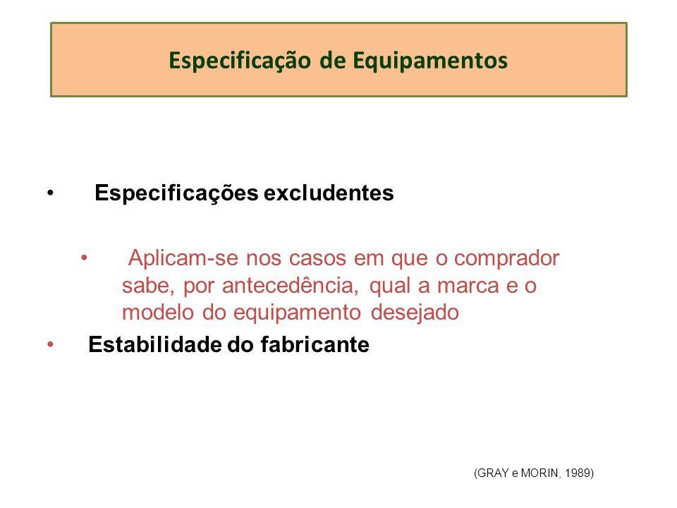 Especificação de Equipamentos Especificações excludentes Aplicam-se nos casos em que o comprador sabe, por antecedência, qual a marca e o modelo do eq