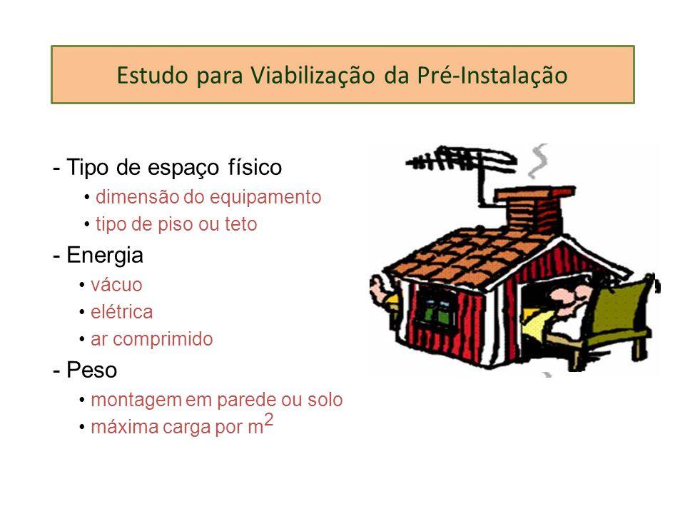 Estudo para Viabilização da Pré-Instalação - Tipo de espaço físico dimensão do equipamento tipo de piso ou teto - Energia vácuo elétrica ar comprimido
