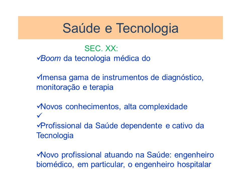 Saúde e Tecnologia SEC. XX: Boom da tecnologia médica do Imensa gama de instrumentos de diagnóstico, monitoração e terapia Novos conhecimentos, alta c
