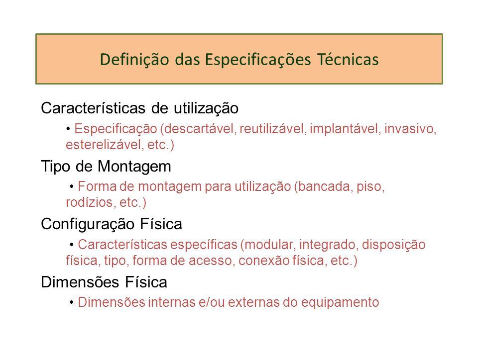 Definição das Especificações Técnicas Características de utilização Especificação (descartável, reutilizável, implantável, invasivo, esterelizável, et