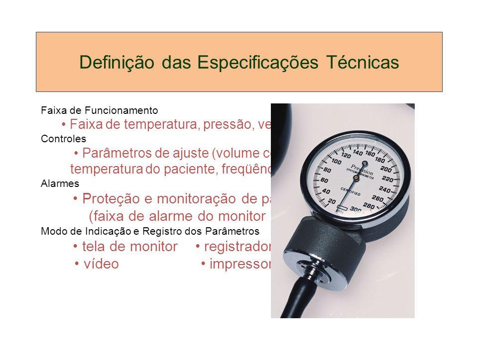 Definição das Especificações Técnicas Faixa de Funcionamento Faixa de temperatura, pressão, velocidade, etc. Controles Parâmetros de ajuste (volume co