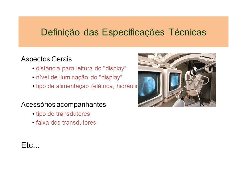 Definição das Especificações Técnicas Aspectos Gerais distância para leitura do