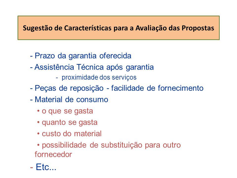 Sugestão de Características para a Avaliação das Propostas - Prazo da garantia oferecida - Assistência Técnica após garantia -proximidade dos serviços