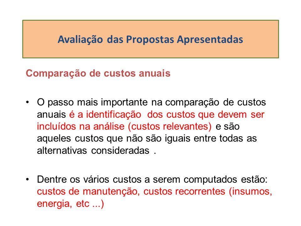 Avaliação das Propostas Apresentadas Comparação de custos anuais O passo mais importante na comparação de custos anuais é a identificação dos custos q