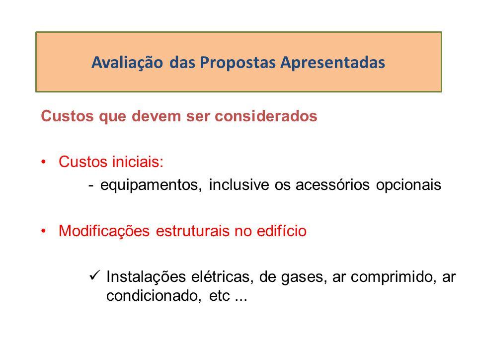 Avaliação das Propostas Apresentadas Custos que devem ser considerados Custos iniciais: -equipamentos, inclusive os acessórios opcionais Modificações