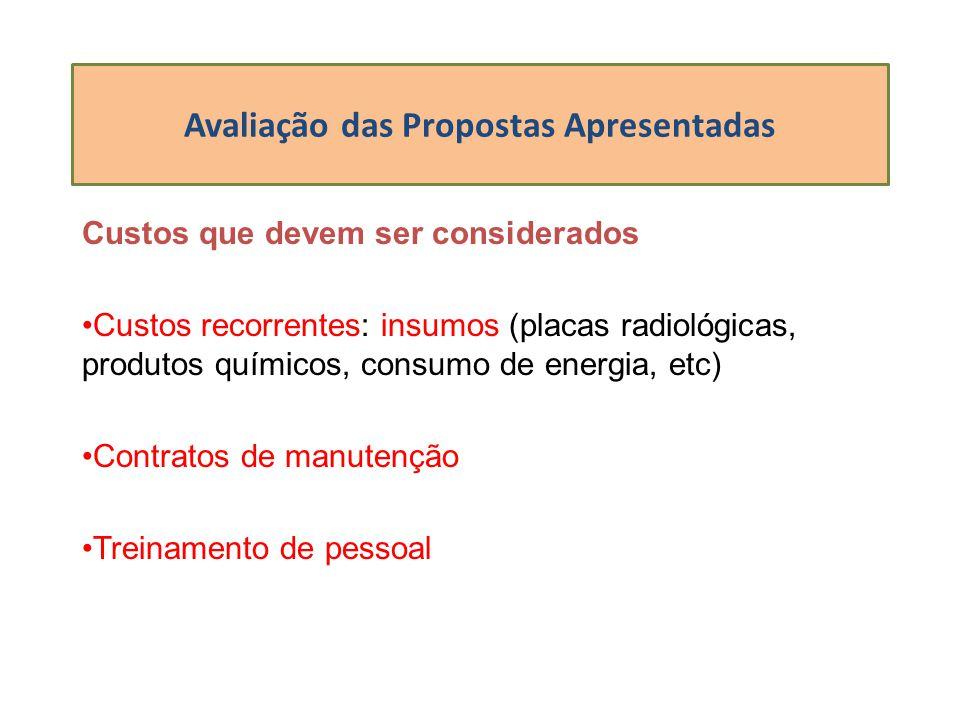Avaliação das Propostas Apresentadas Custos que devem ser considerados Custos recorrentes: insumos (placas radiológicas, produtos químicos, consumo de