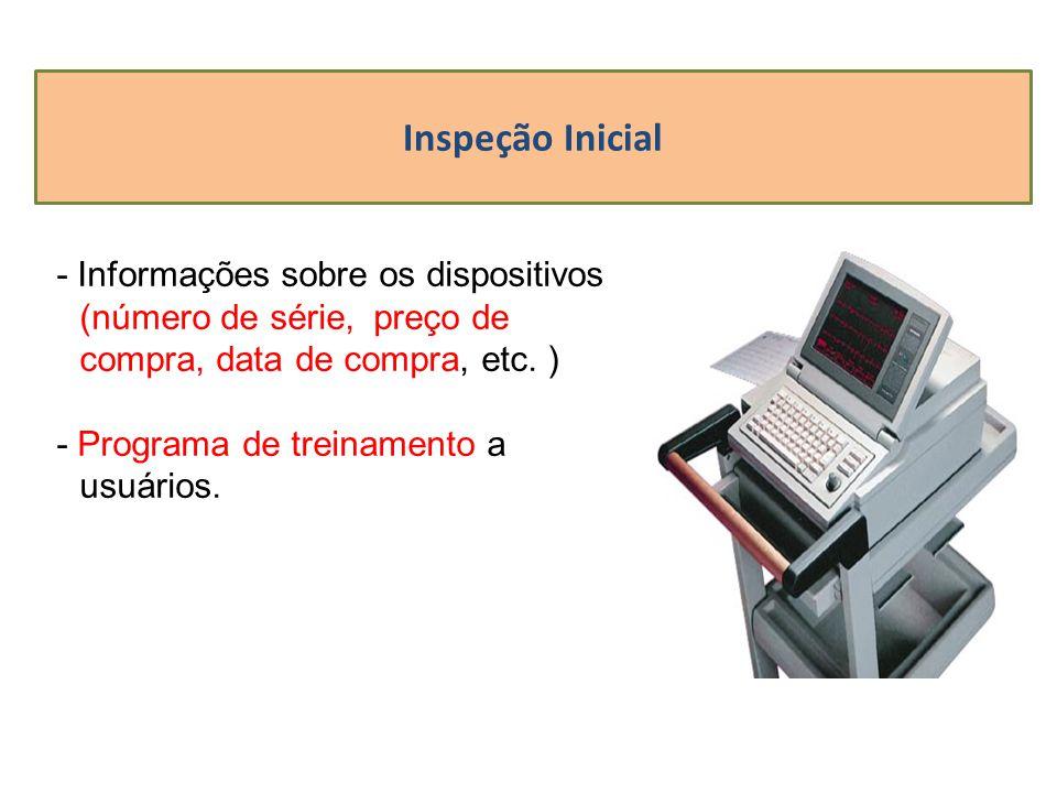 Inspeção Inicial - Informações sobre os dispositivos (número de série, preço de compra, data de compra, etc. ) - Programa de treinamento a usuários.