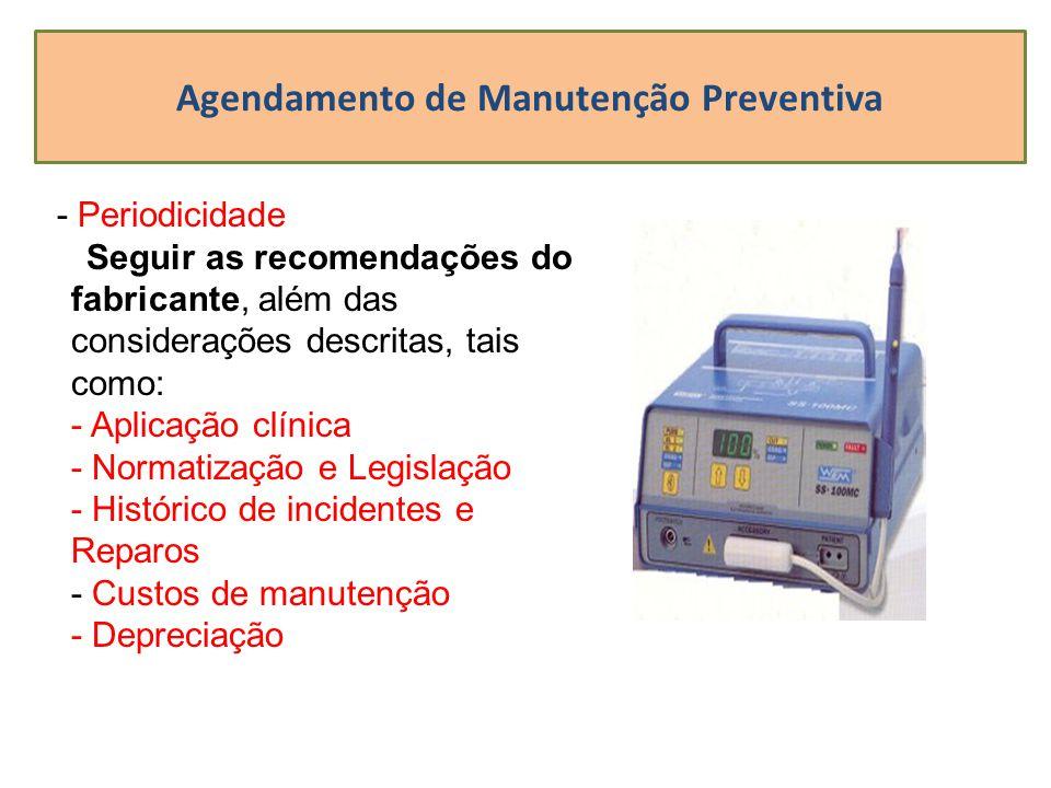 Agendamento de Manutenção Preventiva - Periodicidade Seguir as recomendações do fabricante, além das considerações descritas, tais como: - Aplicação c