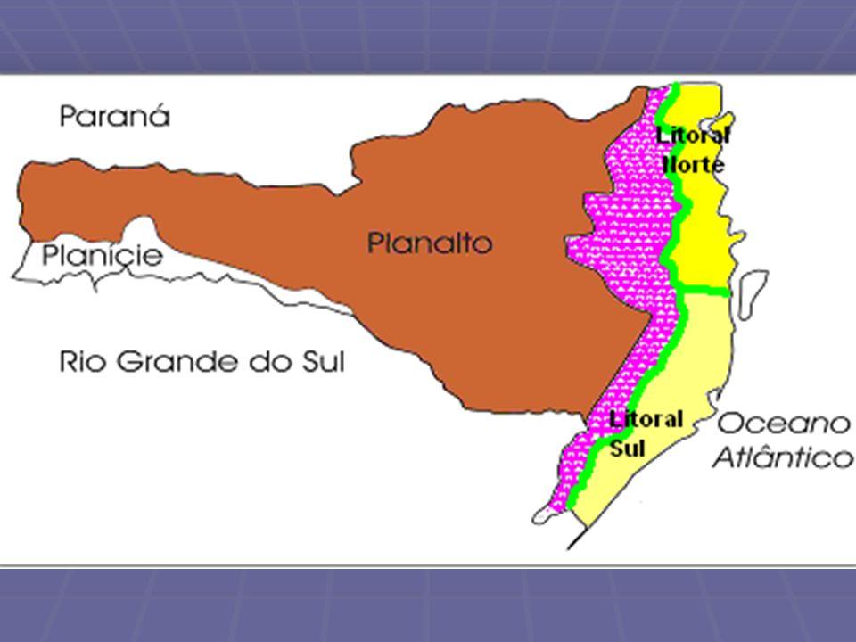 O PLANALTO CATARINENSE Abrangendo cerca de 64% do território catarinense está o setor planáltico, com altitudes que vão dos 800m a 1000m, são terras do paleo-mesozóico com presença de sedimentos areníticos do paleozóico com as eruptivas do mesozóico.