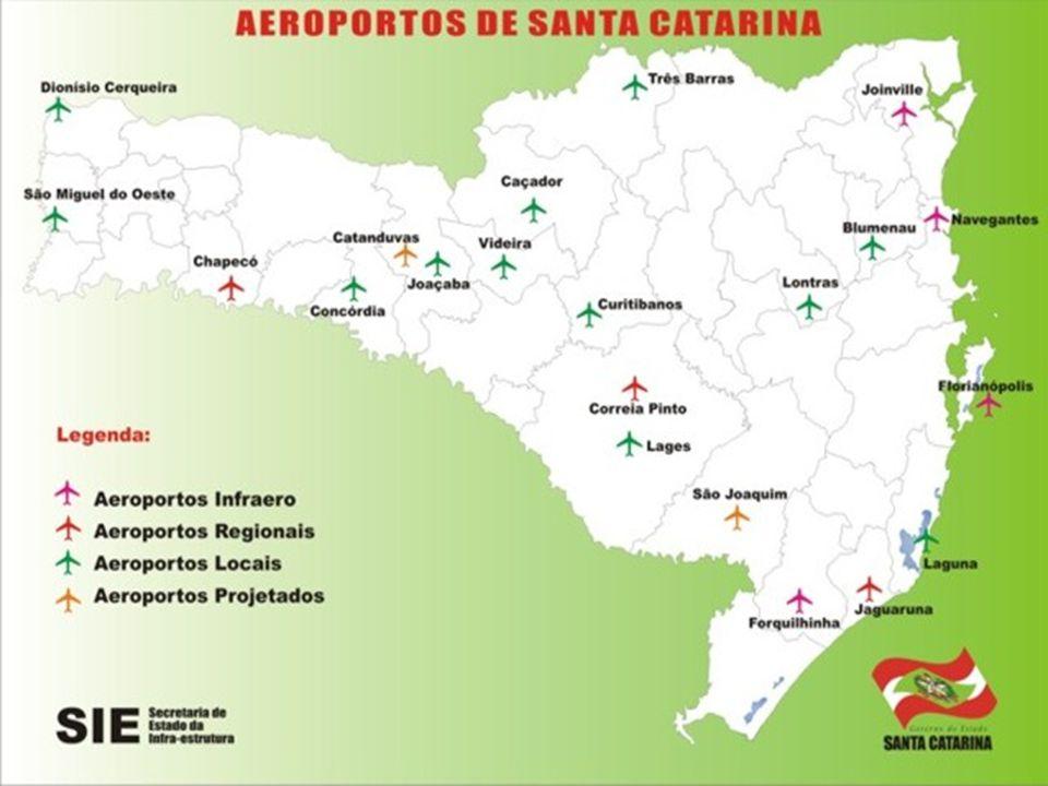 AEROPORTOS CATARINENSES Há 32 aeroportos públicos e privados no estado. Os principais são: Há 32 aeroportos públicos e privados no estado. Os principa