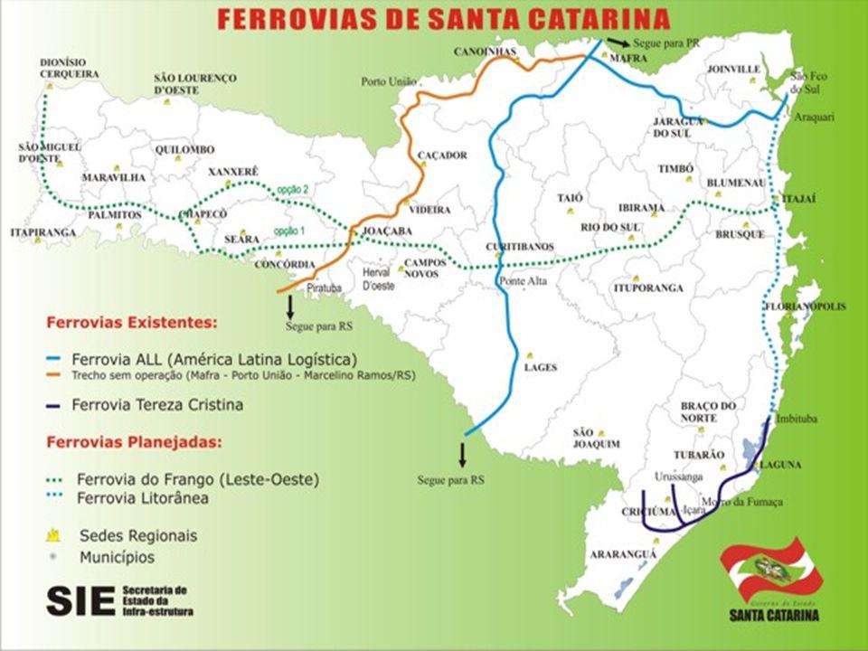 As estradas de ferro de Santa Catarina, administradas pela Rede Ferroviária Federal têm dois troncos principais, que cortam o estado no sentido norte-sul: um passa por Mafra e Lages e o outro, por Porto União, Caçador e Joaçaba.