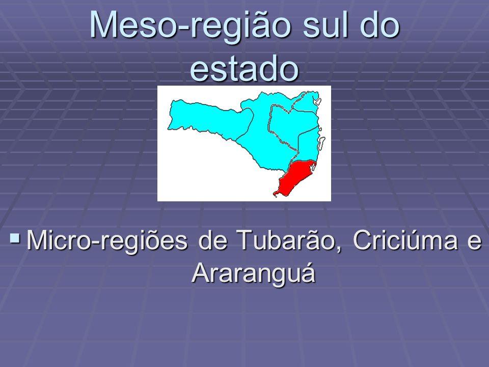 Meso-região da grande Florianópolis Micro-regiões de Tijucas, do Tabuleiro e de Florianópolis