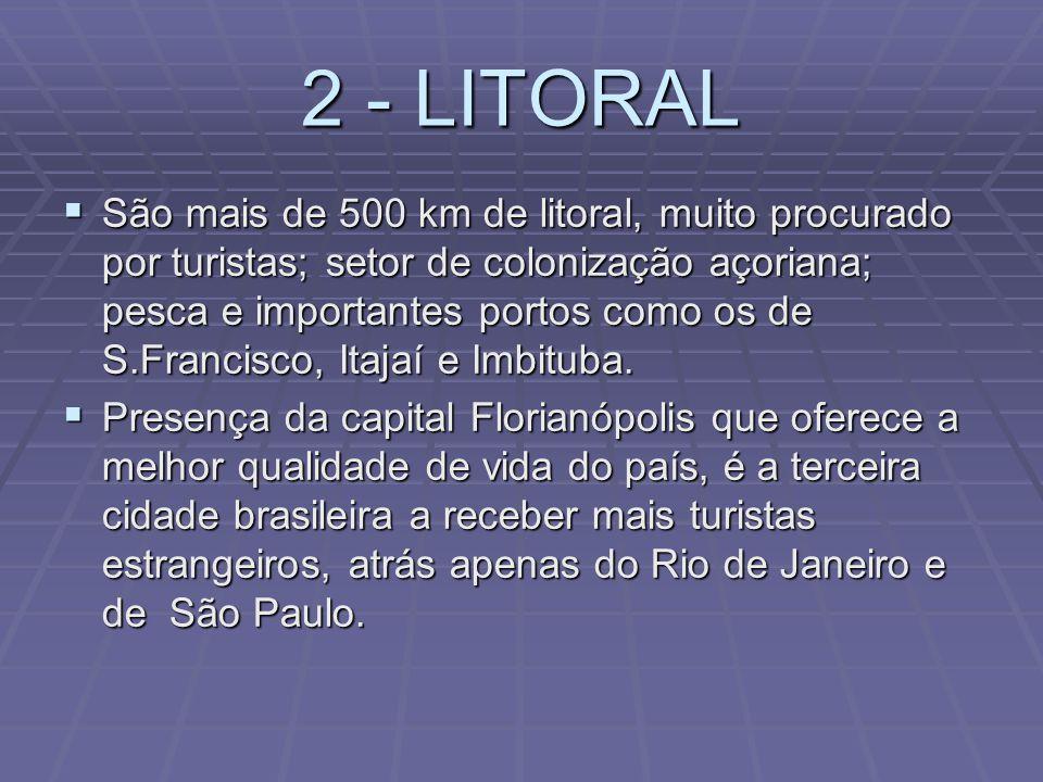1 - NORDESTE Setor de colonização germânica, presentes duas importantes cidades industriais como Joinville e Jaraguá do Sul, alta pluviometria e exube