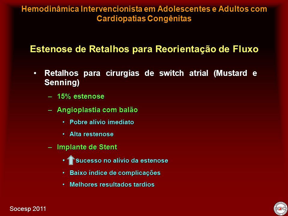 Retalhos para cirurgias de switch atrial (Mustard e Senning)Retalhos para cirurgias de switch atrial (Mustard e Senning) –15% estenose –Angioplastia c