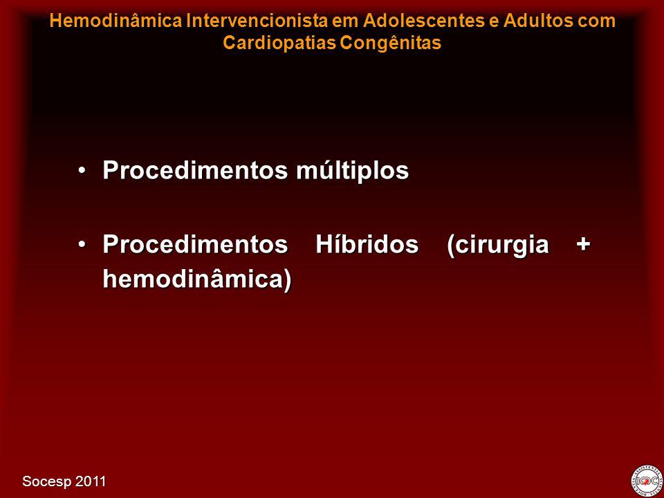 Procedimentos múltiplosProcedimentos múltiplos Procedimentos Híbridos (cirurgia + hemodinâmica)Procedimentos Híbridos (cirurgia + hemodinâmica) Hemodi