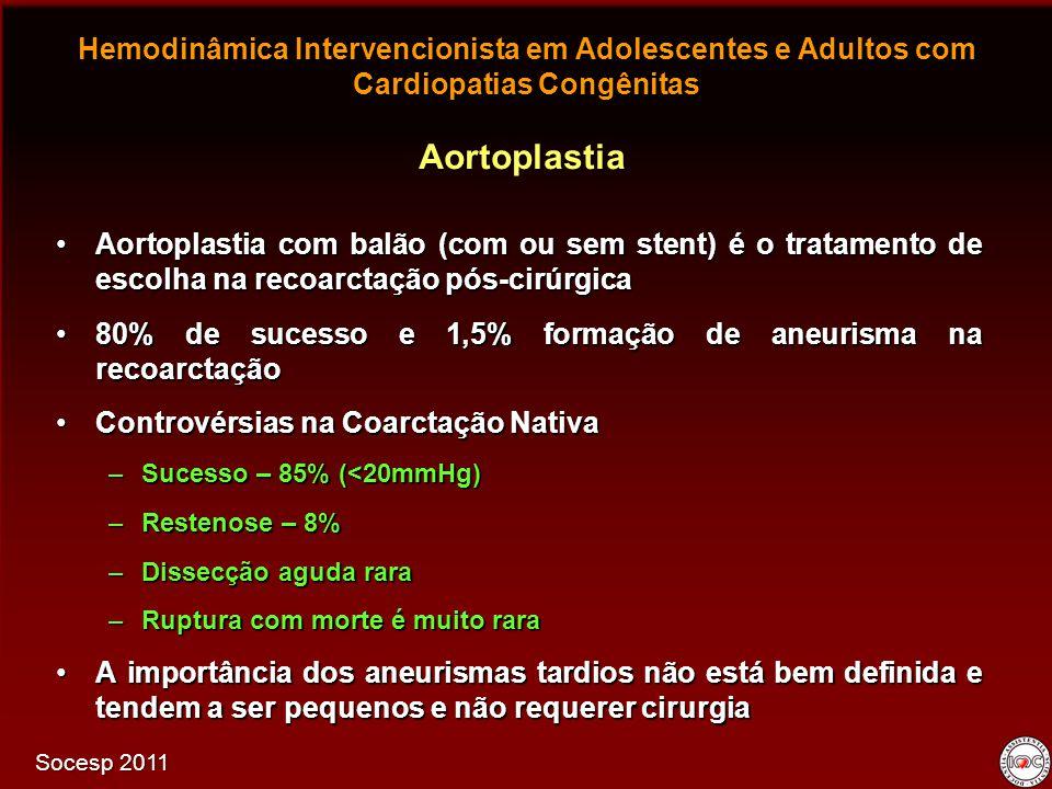 Hemodinâmica Intervencionista em Adolescentes e Adultos com Cardiopatias Congênitas Aortoplastia com balão (com ou sem stent) é o tratamento de escolh