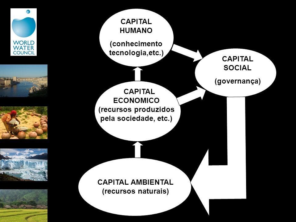 CAPITAL AMBIENTAL (recursos naturais) CAPITAL ECONOMICO (recursos produzidos pela sociedade, etc.) CAPITAL HUMANO (conhecimento tecnologia,etc.) CAPIT