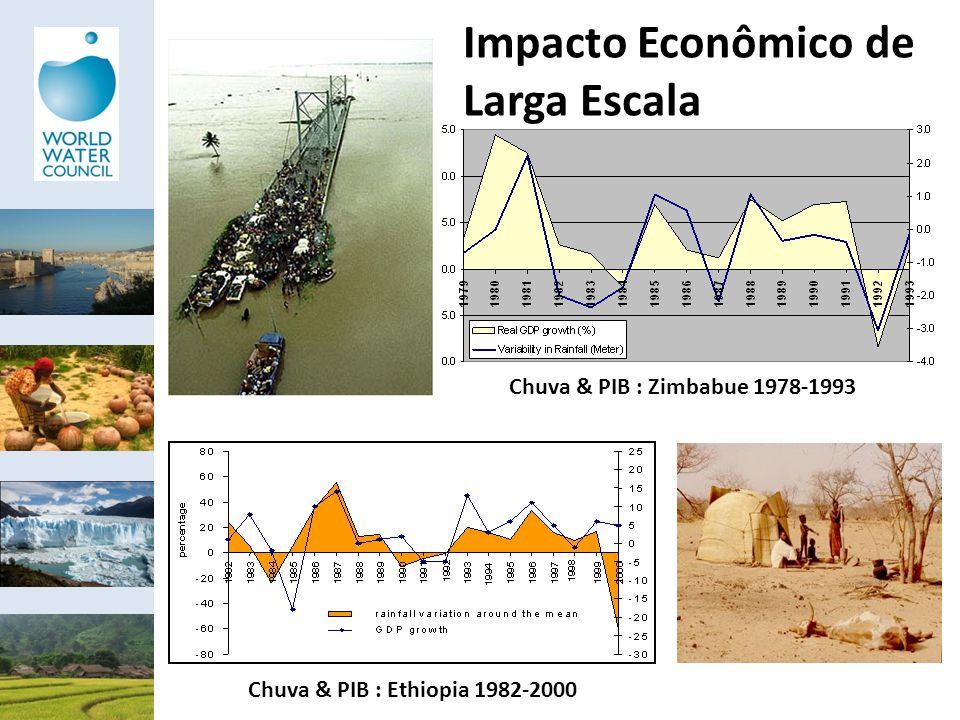 Chuva & PIB : Ethiopia 1982-2000 Chuva & PIB : Zimbabue 1978-1993 Impacto Econômico de Larga Escala