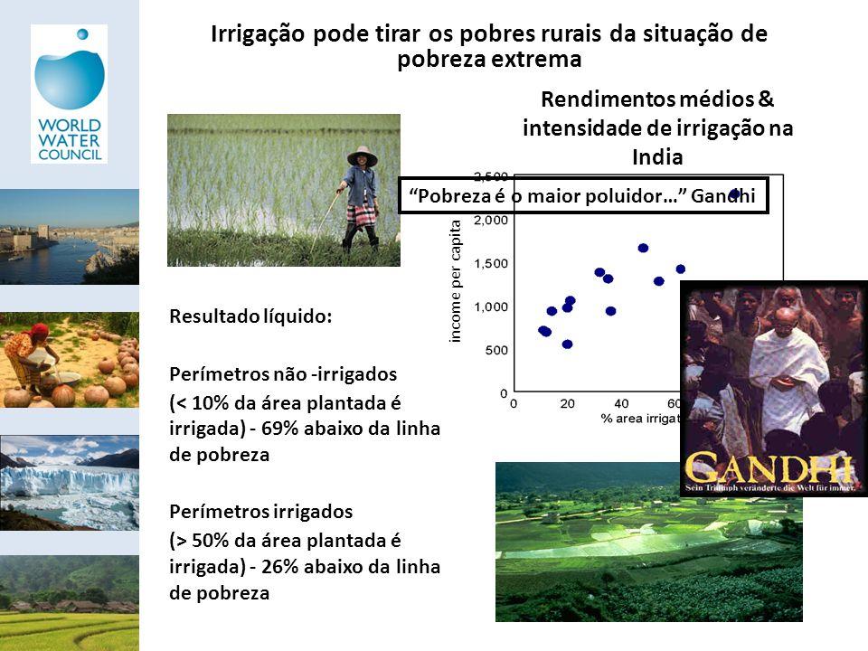 Irrigação pode tirar os pobres rurais da situação de pobreza extrema income per capita Rendimentos médios & intensidade de irrigação na India Resultad