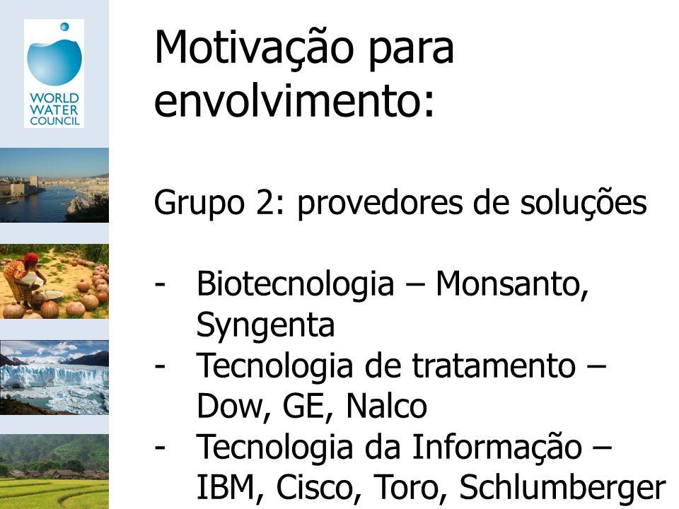 Motivação para envolvimento: Grupo 2: provedores de soluções -Biotecnologia – Monsanto, Syngenta -Tecnologia de tratamento – Dow, GE, Nalco -Tecnologi