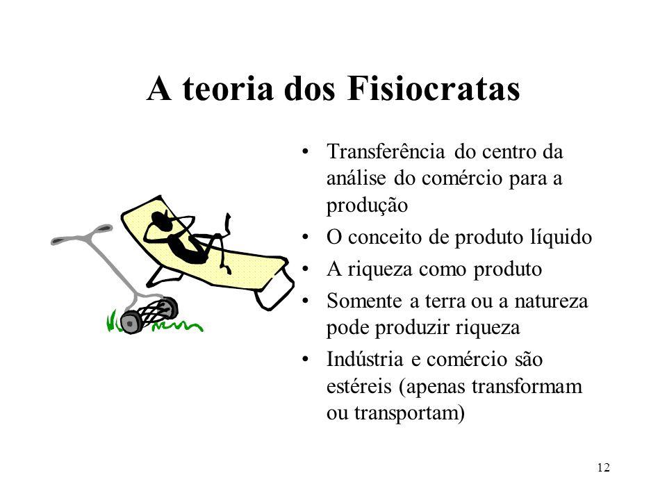 12 A teoria dos Fisiocratas Transferência do centro da análise do comércio para a produção O conceito de produto líquido A riqueza como produto Soment