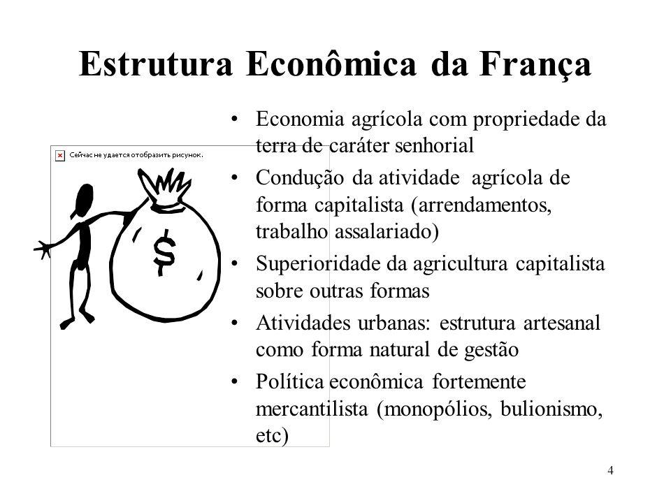 4 Estrutura Econômica da França Economia agrícola com propriedade da terra de caráter senhorial Condução da atividade agrícola de forma capitalista (a