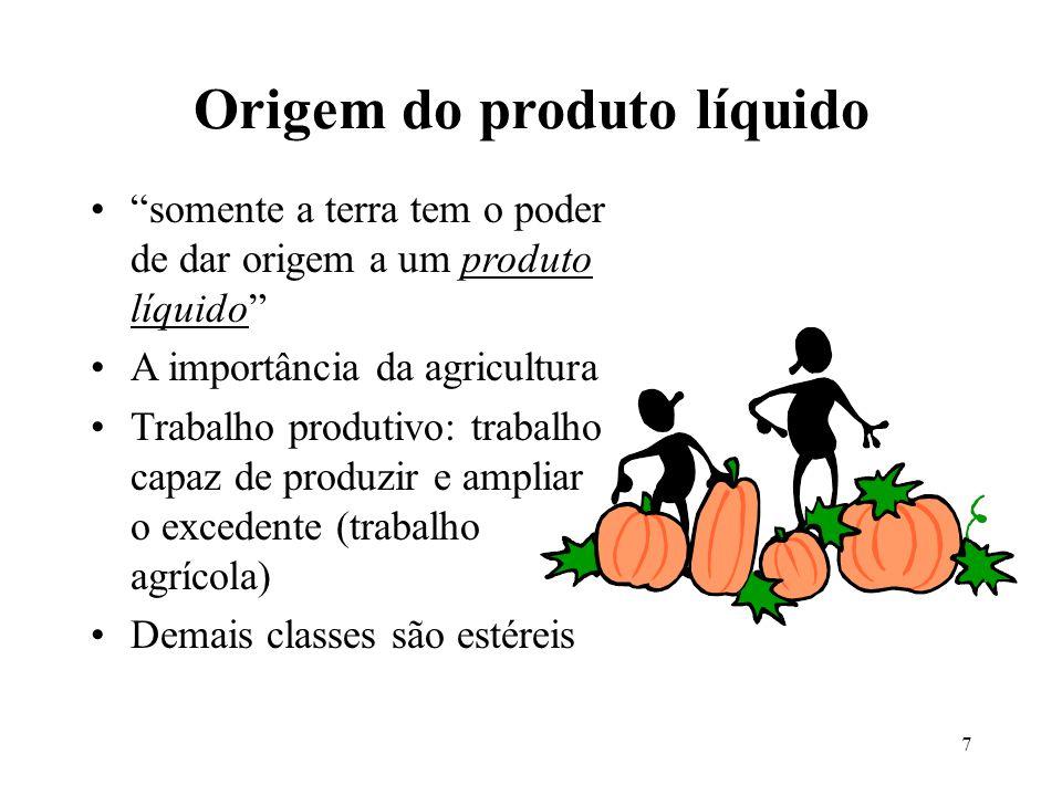 7 Origem do produto líquido somente a terra tem o poder de dar origem a um produto líquido A importância da agricultura Trabalho produtivo: trabalho c