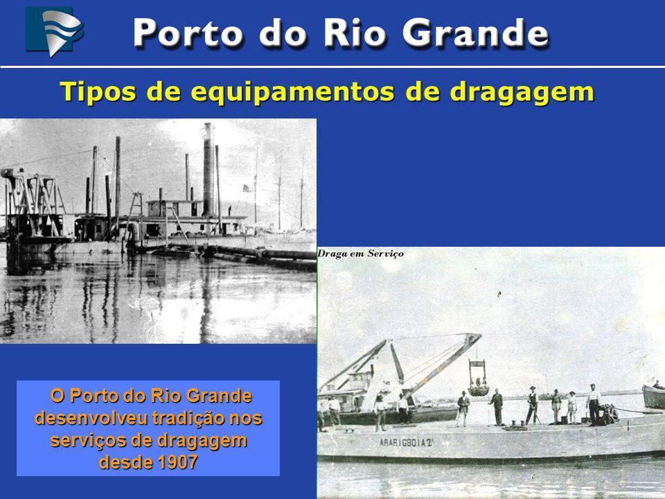 Tipos de equipamentos de dragagem O Porto do Rio Grande desenvolveu tradição nos serviços de dragagem desde 1907 O Porto do Rio Grande desenvolveu tra