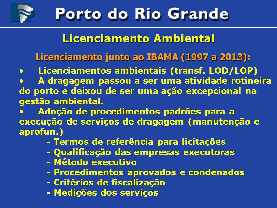 Licenciamento Ambiental Licenciamento junto ao IBAMA (1997 a 2013): Licenciamentos ambientais (transf. LOD/LOP) A dragagem passou a ser uma atividade
