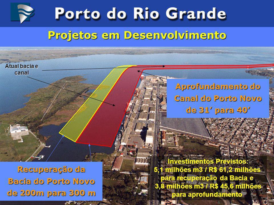 Recuperação da Bacia do Porto Novo de 200m para 300 m Investimentos Previstos: 5,1 milhões m3 / R$ 61,2 milhões para recuperação da Bacia e 3,8 milhõe
