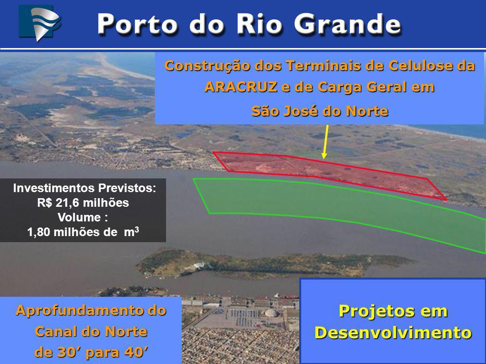 Construção dos Terminais de Celulose da ARACRUZ e de Carga Geral em São José do Norte Aprofundamento do Canal do Norte de 30 para 40 Projetos em Desen