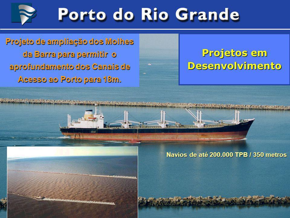 Navios de até 200.000 TPB / 350 metros Navios de até 200.000 TPB / 350 metros Projetos em Desenvolvimento Projeto de ampliação dos Molhes da Barra par