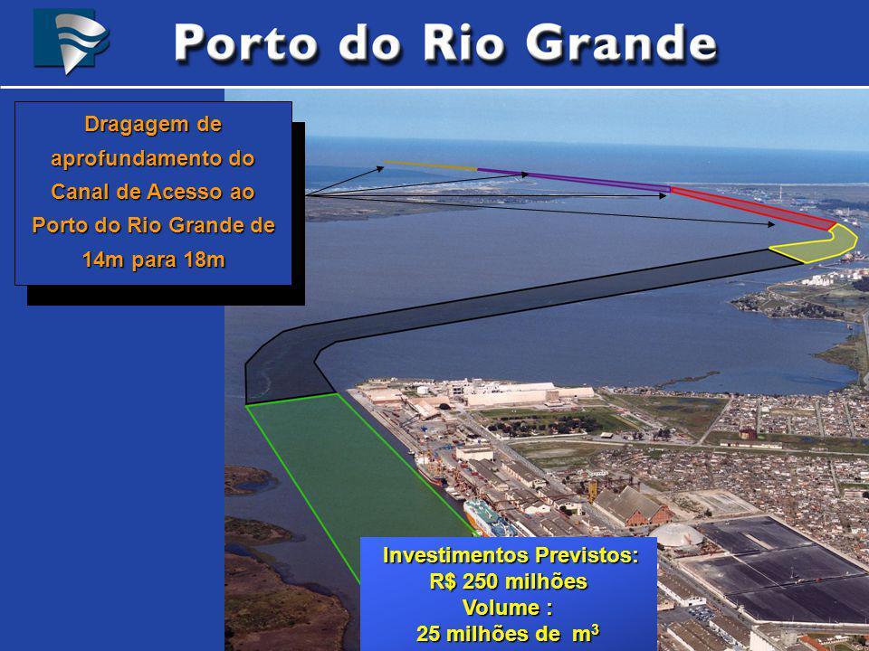 Dragagem de aprofundamento do Canal de Acesso ao Porto do Rio Grande de 14m para 18m Investimentos Previstos: Investimentos Previstos: R$ 250 milhões