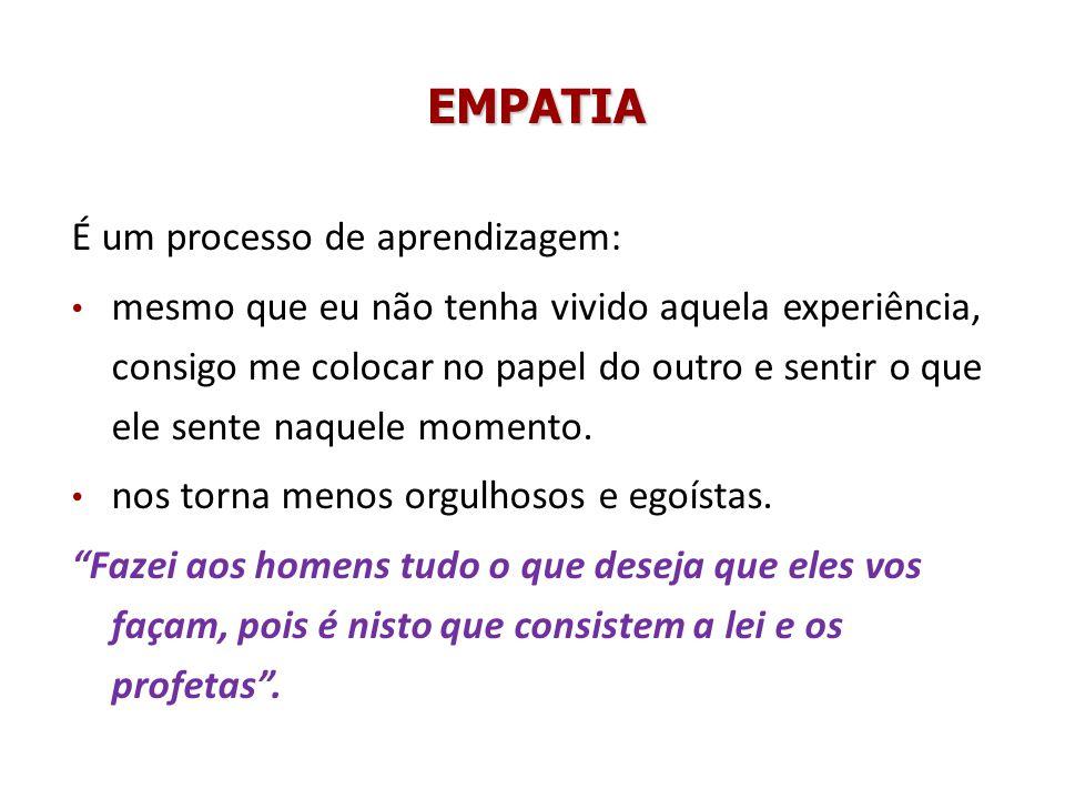 EMPATIA É um processo de aprendizagem: mesmo que eu não tenha vivido aquela experiência, consigo me colocar no papel do outro e sentir o que ele sente