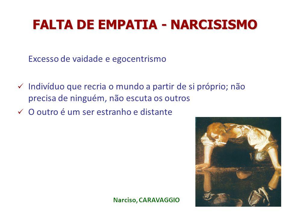 FALTA DE EMPATIA - NARCISISMO Excesso de vaidade e egocentrismo Indivíduo que recria o mundo a partir de si próprio; não precisa de ninguém, não escut