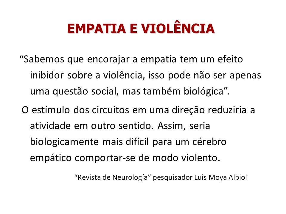 EMPATIA E VIOLÊNCIA Sabemos que encorajar a empatia tem um efeito inibidor sobre a violência, isso pode não ser apenas uma questão social, mas também