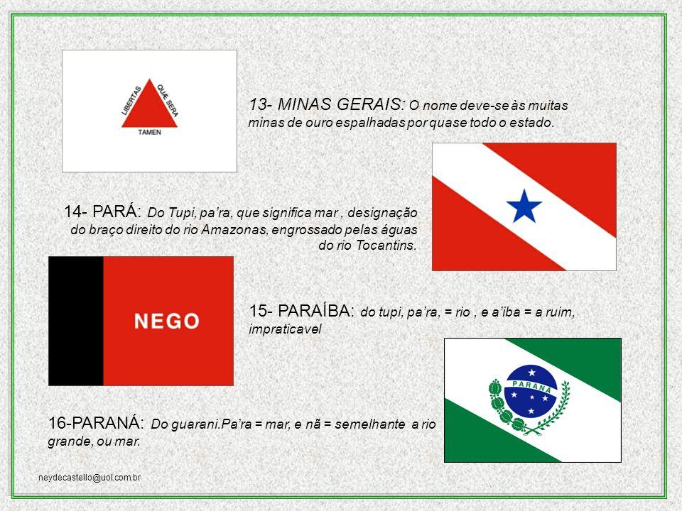 neydecastello@uol.com.br 9-- GOIÁS: Do Tupi, gwa ya, nome dos índios guaiás, gente semelhante, igual.