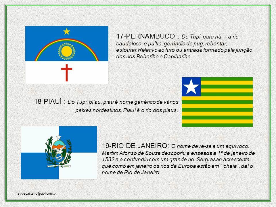 neydecastello@uol.com.br 16-PARANÁ: Do guarani.Para = mar, e nã = semelhante a rio grande, ou mar.