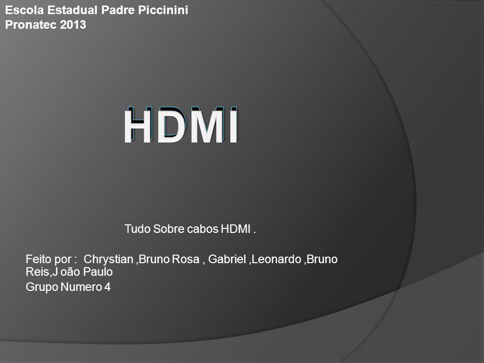 Tudo Sobre cabos HDMI. Feito por : Chrystian,Bruno Rosa, Gabriel,Leonardo,Bruno Reis,J oão Paulo Grupo Numero 4 Escola Estadual Padre Piccinini Pronat