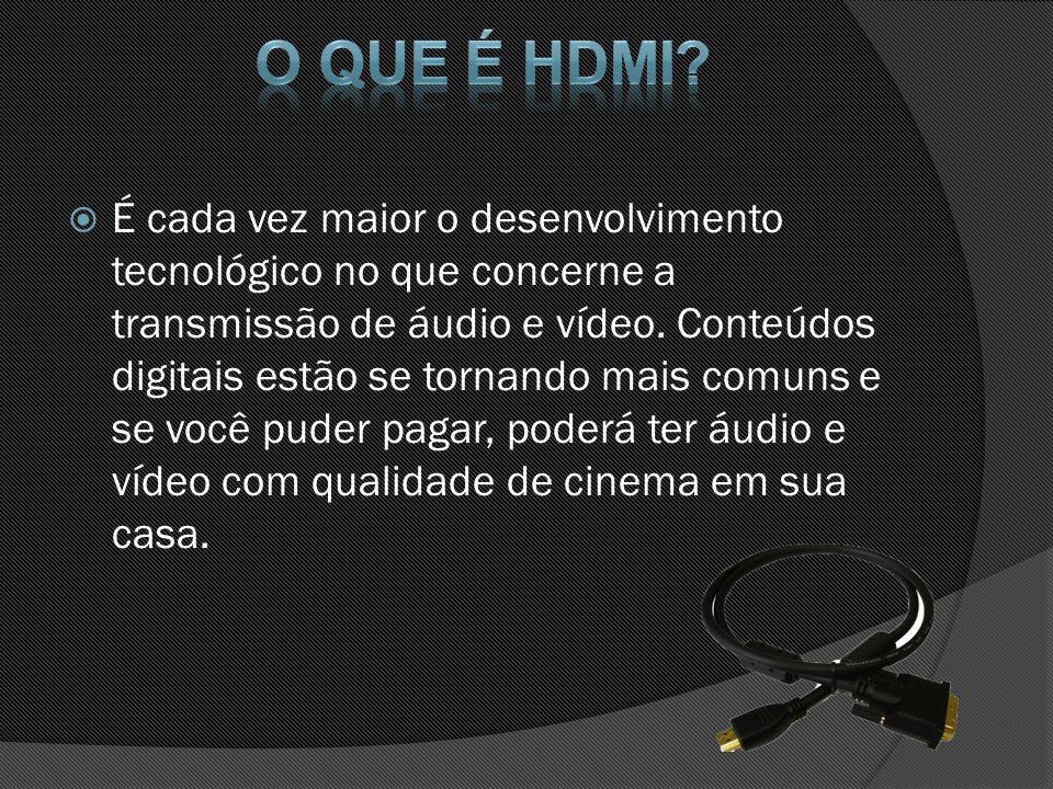 Qualidades Digital Para colaborar com a efetividade desta tecnologia de alta definição foi que surgiu o HDMI, um sistema de conexão de alta tecnologia que é capaz de transmitir áudio e vídeo através de um único cabo, ao invés do que acontecia anteriormente, onde cada tipo de transmissão possuía cabos e entradas exclusivas nos aparelhos.