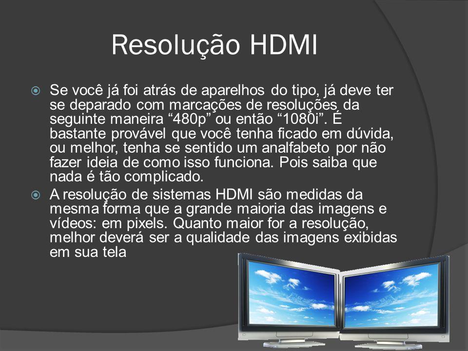 Resolução HDMI Se você já foi atrás de aparelhos do tipo, já deve ter se deparado com marcações de resoluções da seguinte maneira 480p ou então 1080i.