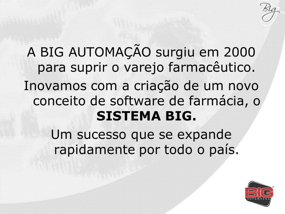 A BIG AUTOMAÇÃO surgiu em 2000 para suprir o varejo farmacêutico. Inovamos com a criação de um novo conceito de software de farmácia, o SISTEMA BIG. U