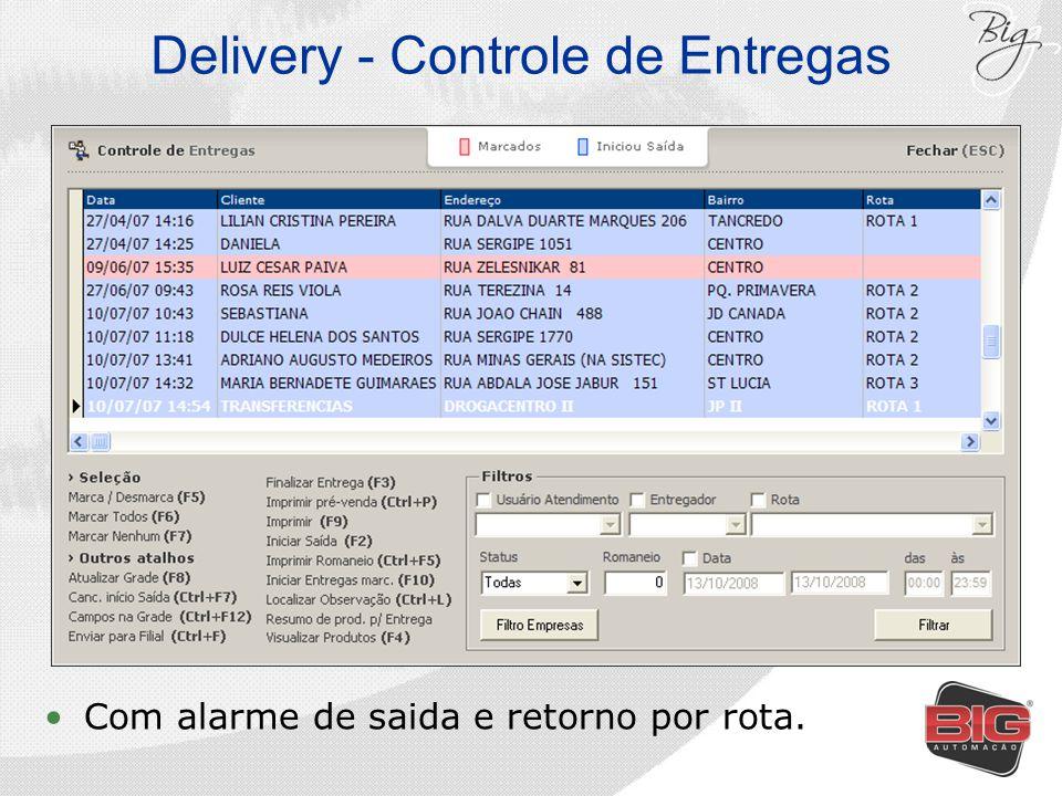 Delivery - Controle de Entregas Com alarme de saida e retorno por rota.