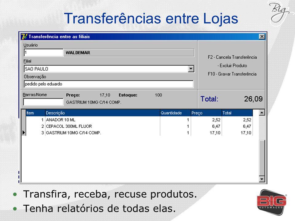 Transferências entre Lojas Transfira, receba, recuse produtos. Tenha relatórios de todas elas.