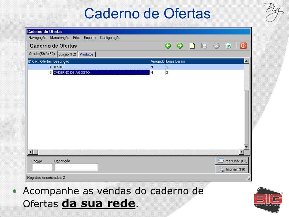 Caderno de Ofertas Acompanhe as vendas do caderno de Ofertas da sua rede.
